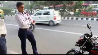 Traffic police without shoes