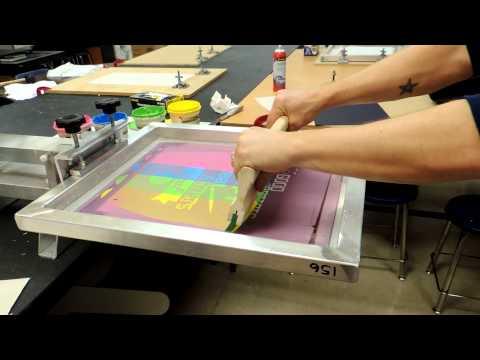 Split fountain screen printing