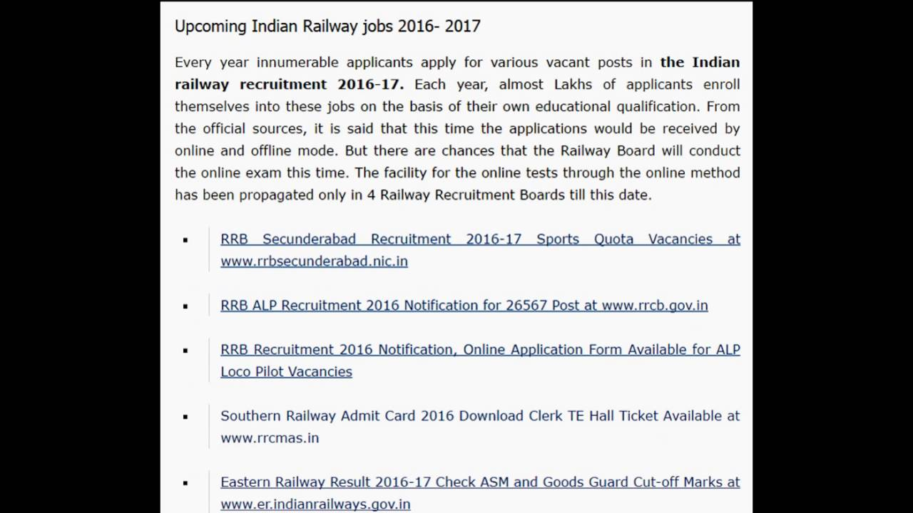 Indian Railway Recruitment 2017 2018 Upcoming Rrb Rrc Admit Card