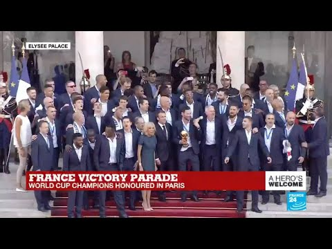 French players sing I will survive, La Marseillaise at Presidential palace