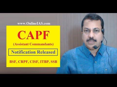 CAPF (Assistant Commandants) Notification Released- BSF, CRPF, CISF, ITBP, SSB - OnlineIAS.com