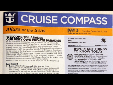Royal Caribbean Cruise Compass Daily Schedule for Activities & Entertainment on Allure of the Seas