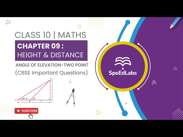 Class 10 Maths Chapter 09: Height & Distance|Angle of Elevation -Two point|CBSE Important Questions