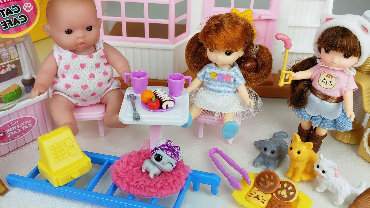 Baby doll Pet care and food Juice Shop toys play house story - ToyMong TV 토이몽