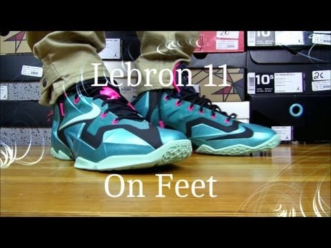 52f1e3b4d41 Nike Air Lebron 11 South Beach On Feet Review - YouTube