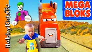 MEGA Bloks RACING Rig! Villains Attack + Quick Sand Dinosaur Stomp Toy Review HobbyKidsTV