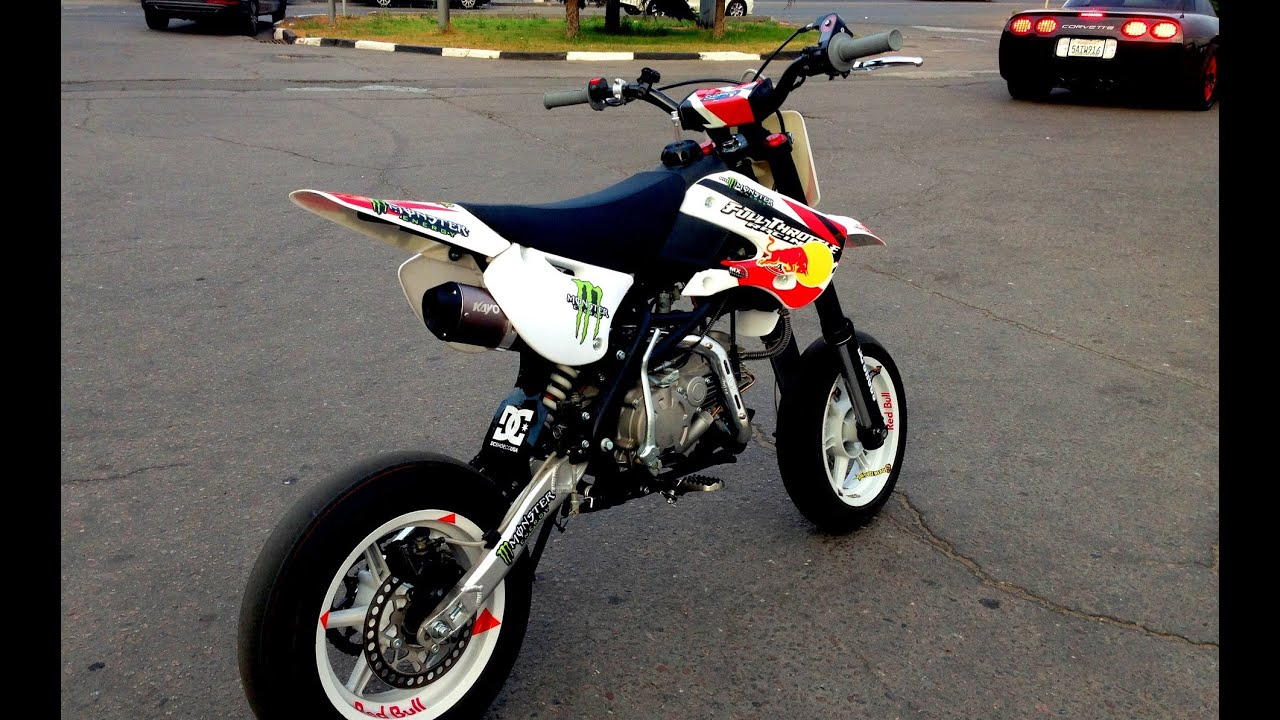 pitbike exhaust kayo klx 155 motard pro moscow youtube. Black Bedroom Furniture Sets. Home Design Ideas