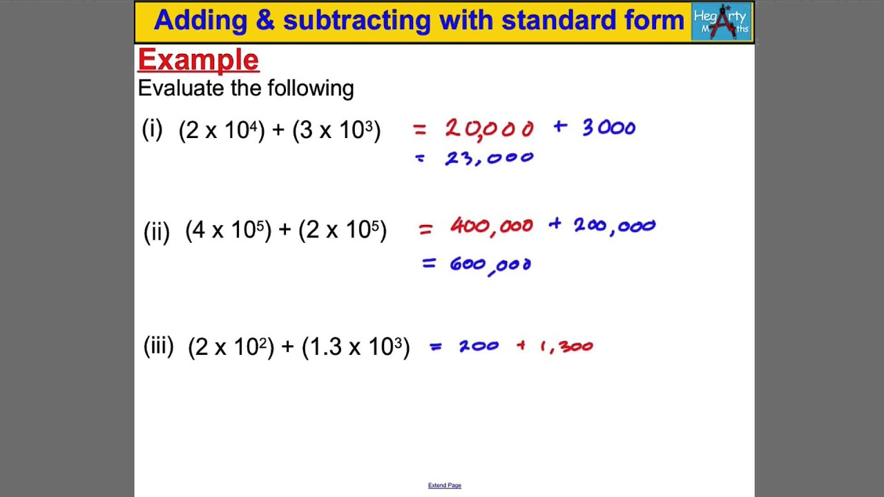 Adding Subtracting With Standard Form Youtube