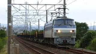 2019/10/14 JR貨物 大谷川踏切から8090レ(レール輸送)と長距離貨物1071レ