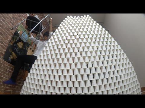 【本気】紙コップで巨大ピラミッドを作ってみた Paper Cup Pyramid
