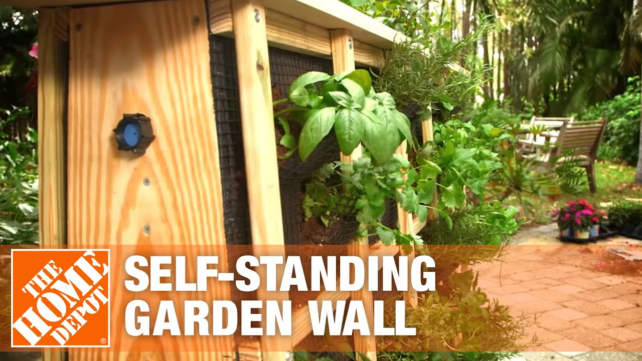 How To Build A Self Standing Garden Wall The Home Depot Youtube