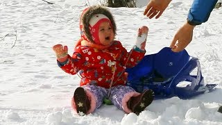 Baby's First Snowball Fight Gone WRONG - Cute Baby Lile Playing For The First Tim in the Snow