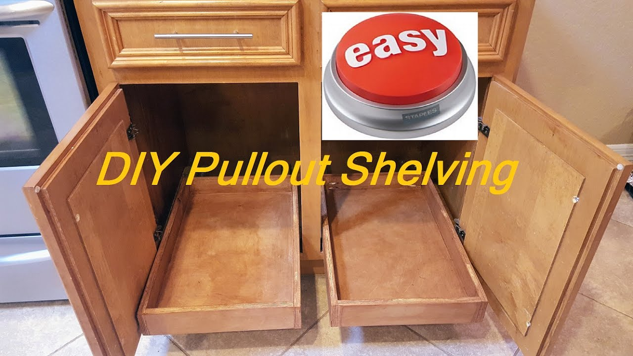 Diy pull out sliding shelving easy youtube diy pull out sliding shelving easy solutioingenieria Image collections