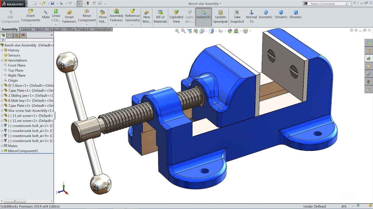 Solidworks tutorial sketch bench vise in solidworks for Design table not working solidworks