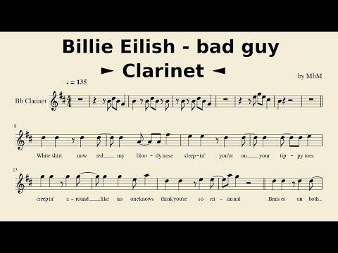 Billie Eilish - Bad Guy (Clarinet) [Sheet Music // Cover By Mace]