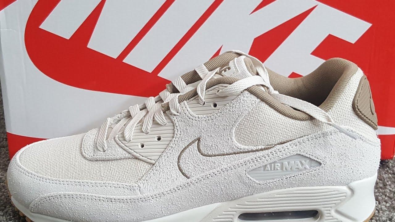 unboxing unpacking Nike Air Max 90 Premium Phantom Khaki Sail