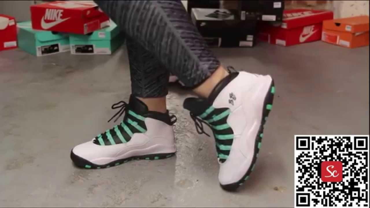 reputable site 9e5c1 694db SoleCool App Air Jordan 10 Retro 30th GG Verde On Feet Video at Exclucity -  YouTube