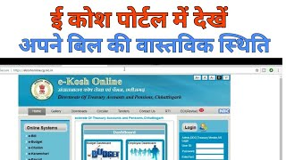 Bill Status On ekosh Online Portal Chhattisgarh