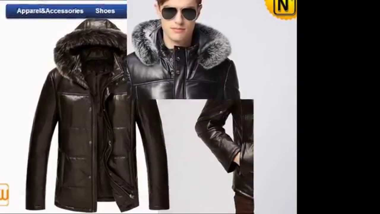 Mens Leather Jacket with Fur Hood CW860025 www.cwmalls.com - YouTube