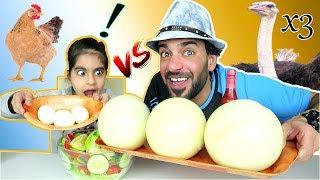 تحدي أكل ۳ بيضات نعامة عملاقة ضد ۳ بيضات دجاجة صغيرة - Ostrich Eggs VS Chicken Eggs Challenge