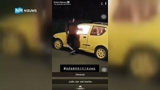 Jongens steken auto in de fik en filmen het