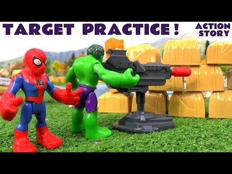 Captain America Hulk Iron Man Thor & Spiderman Toys Target Practice with Thomas The Train
