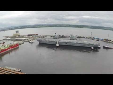 Carrier Queen Elizabeth, towed from Rosyth basin