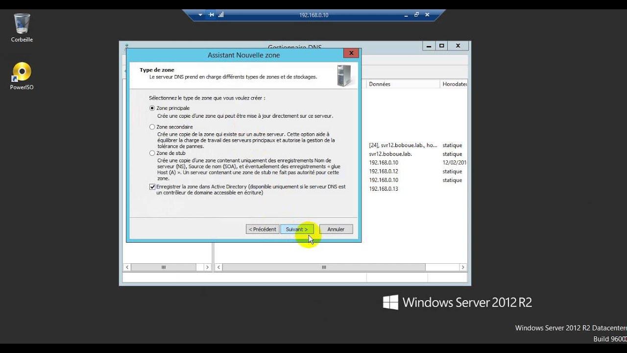 installation et configuration des services AD DS, DNS, DHCP sur Windows  Server 2012