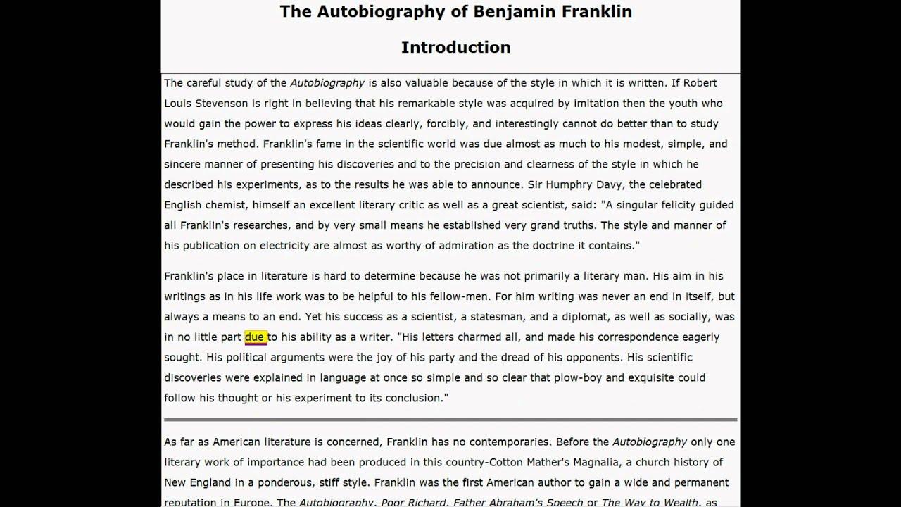 Autobiography Of Benjamin Franklin Introduction Harvard
