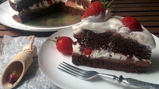 Шоколадный торт с нутеллой и клубникой  ❤ Cooking with Love