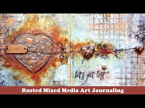 Rusted Heart Mixed media art journaling page -- Stamping on Modelling paste