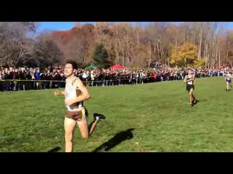 Finish of the 2016 boys NJ XC Meet of Champions. Elliot Gindi of Ocean Twp. and Princeton win!