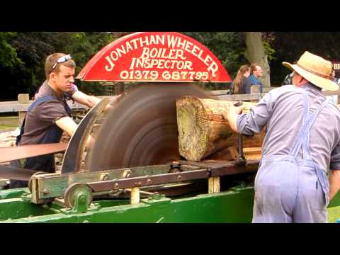 steam driven tractor powers belt driven  log  saw in HD