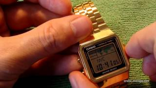 Casio A500WGA gold watch review and demo