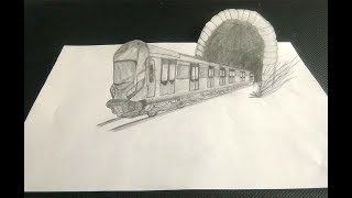 How To Draw 3D Train and Tunnel - easy 3d trick art drawing