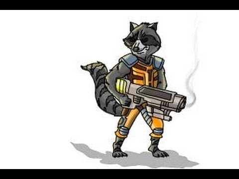 How to draw Rocket Raccoon from Guardians of the Galaxy ... Raccoon Drawing Easy