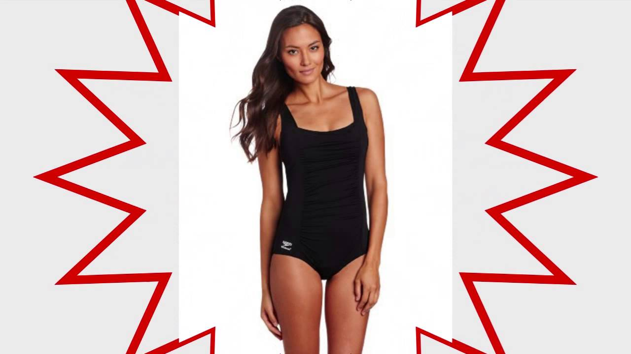 cf410a2cc57 Speedo Womens Endurance Shirred Tank One Piece Swimsuit Black - YouTube
