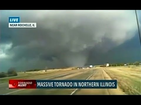 Rochelle Illinois Tornado April 9, 2015 - Weather Channel Live
