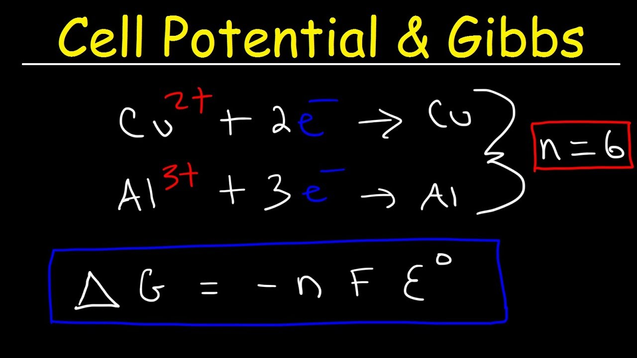 Cell Potential Gibbs Free Energy Standard Reduction Potentials Electrochemistry Problems