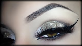 Sexy Arabic Christmas Makeup - Gold Glitter Elegant Cat Eyeliner Tutorial (trucco Natale) 2014
