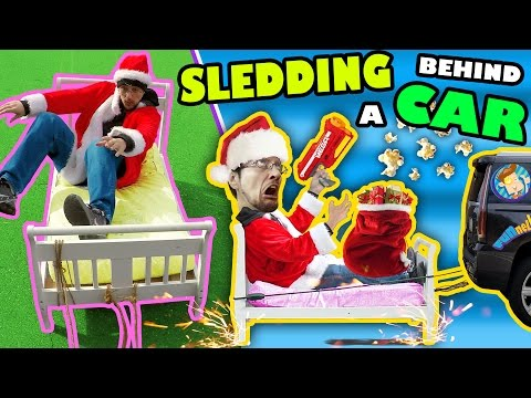 Thumbnail: BED SLEDDING BEHIND A CAR + Unlimited POPCORN Life Hack w/ Nerf Gun (FUNnel Vision Donate Vlog/Skit)