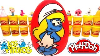 Huevo Sorpresa Gigante de Los Pitufos Pitufina en Español Plastilina Play Doh