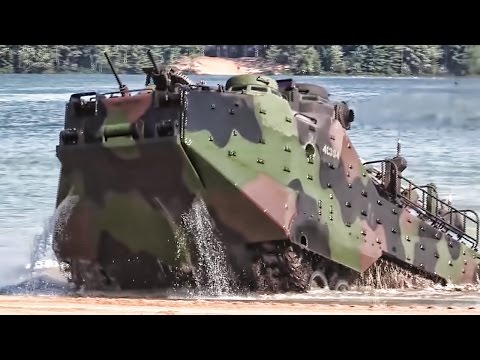 Marines Practice Beach Landing In Amphibious Assault Vehicles