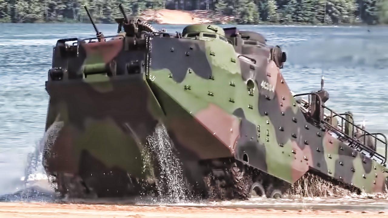 Marines Practice Beach Landing In Amphibious Assault Vehicles