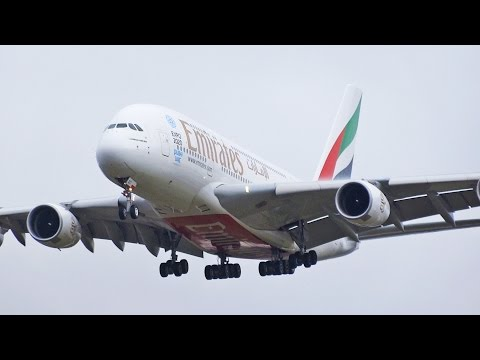 Airbus A380 Emirates 'EXPO 2020 DUBAI UAE' A6-EDC Landing Heathrow Airport Runway 27L [1080p HD]