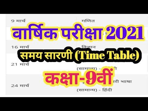 MP Board Time Table 2021/वार्षिक परीक्षा 2021/Class-9 टाइम टेबल वार्षिक परीक्षा 2021,,,