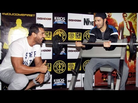 John Abraham & Varun Dhawan FUN Workout Session With Reporters   Dishoom Promotion