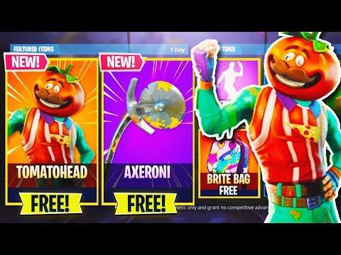 "NEW SKIN ""Tomato Head + Axeroni AXE"" in Fortnite! - NEW SKINS UPDATE! - Fortnite Battle Royale LIVE"