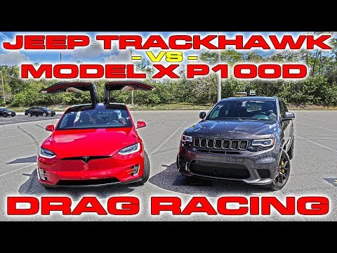 Tesla Model X P100D Ludicrous sets World Record vs Jeep Trackhawk Drag Racing 1/4 Mile
