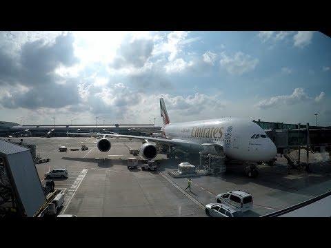 Emirates a380-800 economy trip review PRG-DXB-PEK (also upper deck economy))